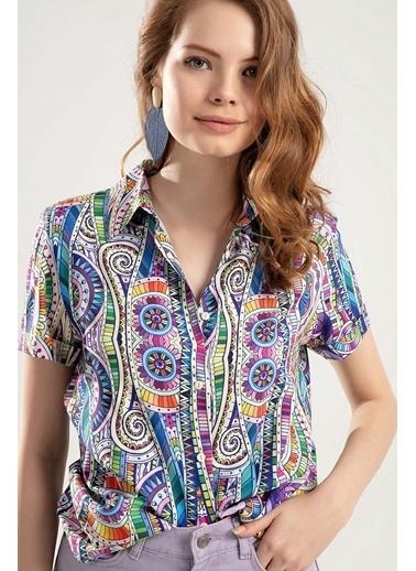 Pattaya Pattaya Kadın Dijital Baskılı Duble Kol Gömlek PTTY20S-364 Renkli